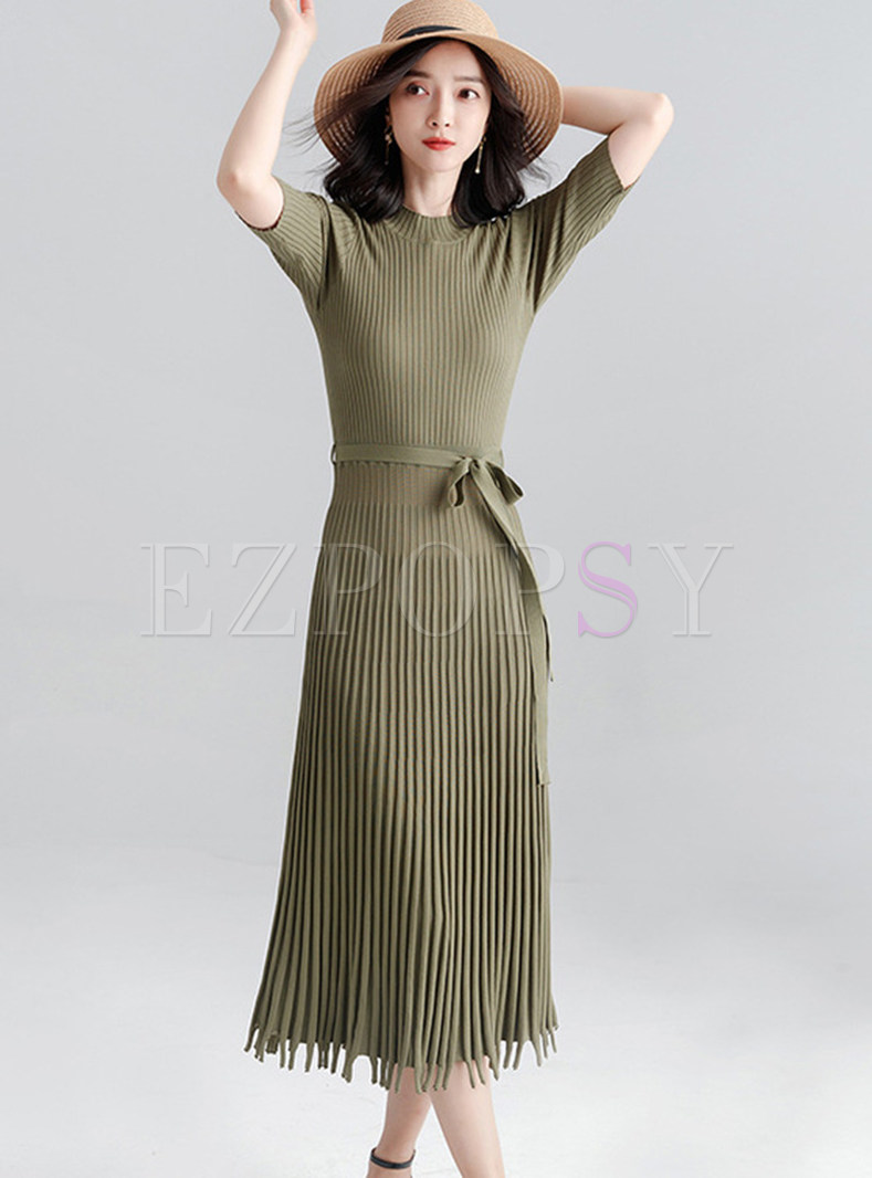 Half Sleeve Pure Belted Tassel Patch Knitted Dress