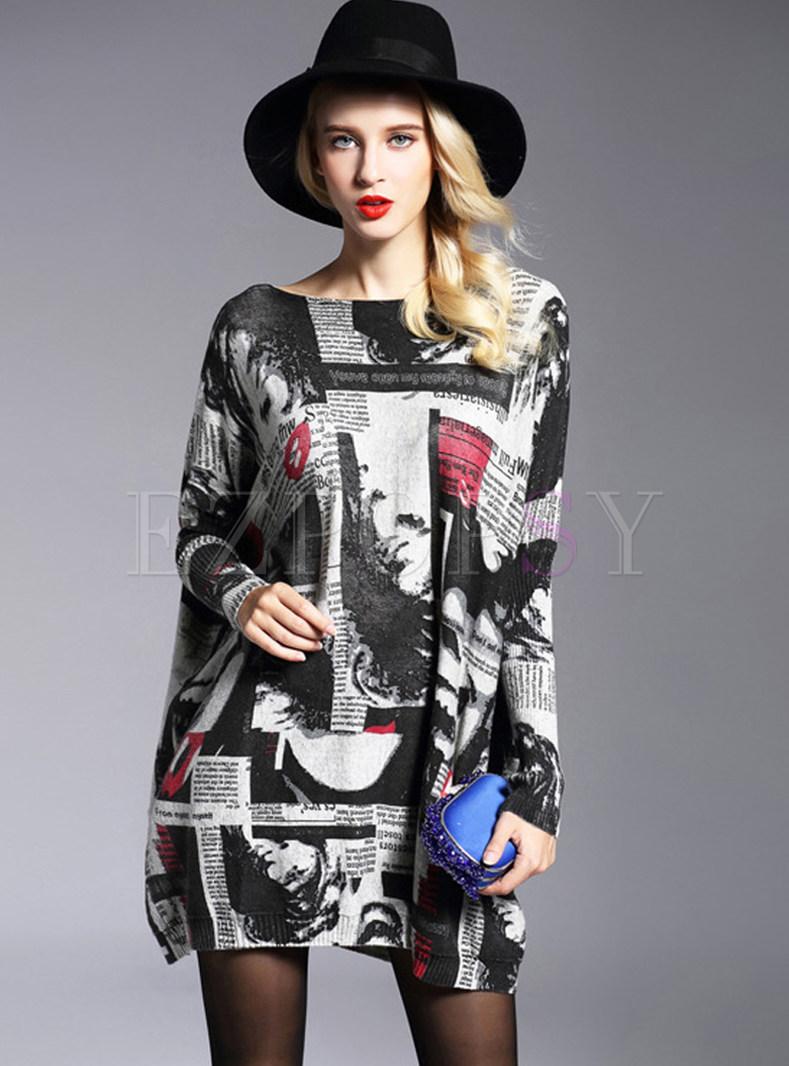Autumn Slash Neck Plus Size Print Pullover Mini Dress
