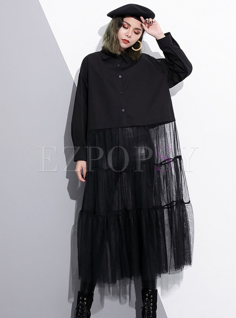 Chic Black Mesh Splicing Lapel Single-breasted Loose Dress