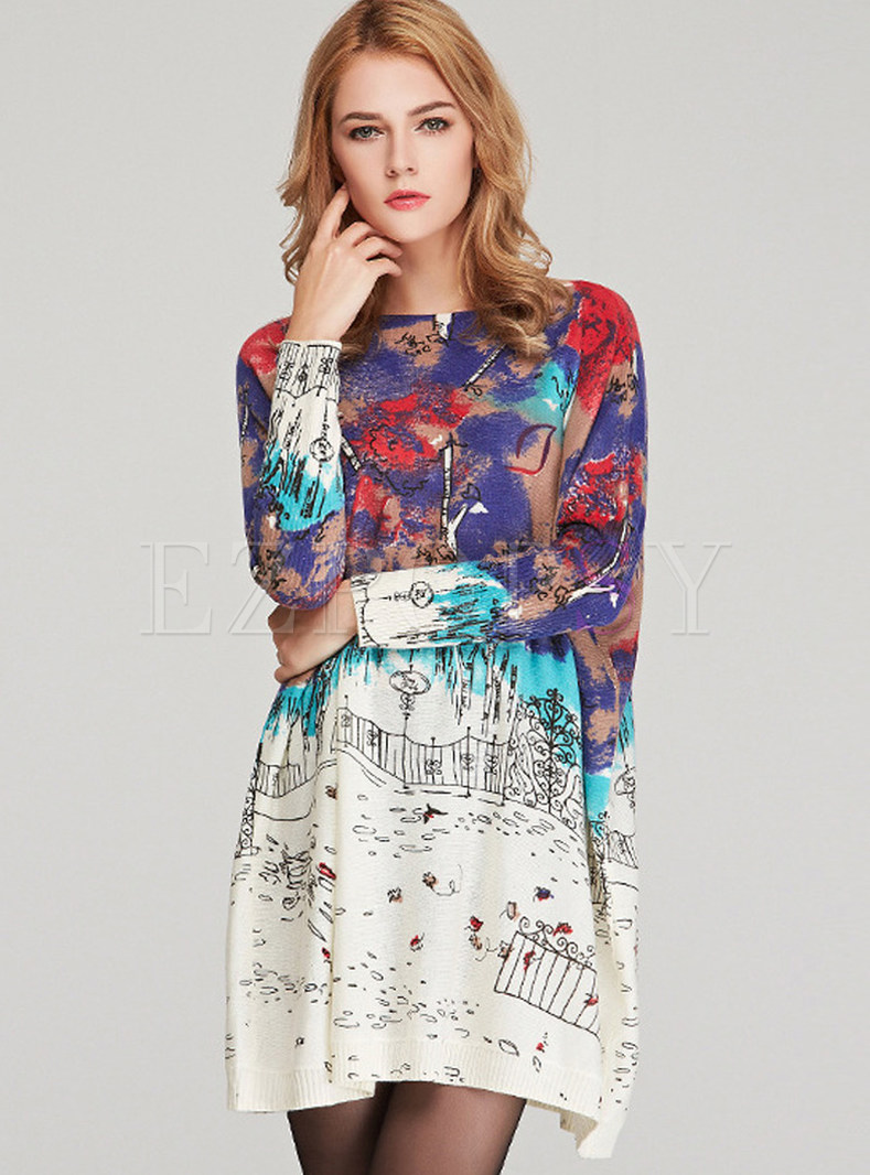 Plus Size Print Loose Mini Knitted Dress