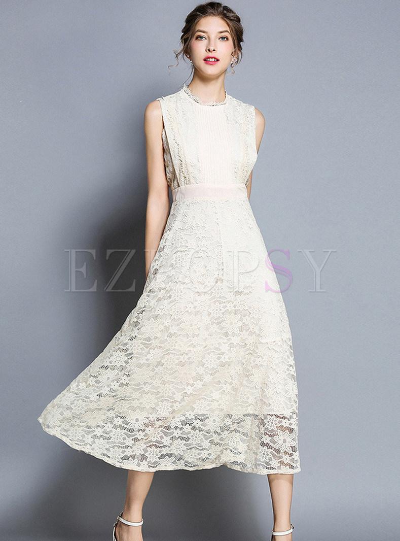Solid Collar Sleeveless High Waist Lace Dress