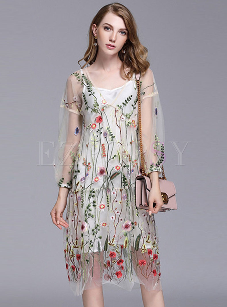 Trendy Mesh Embroidered See-through Look Dress With Lining