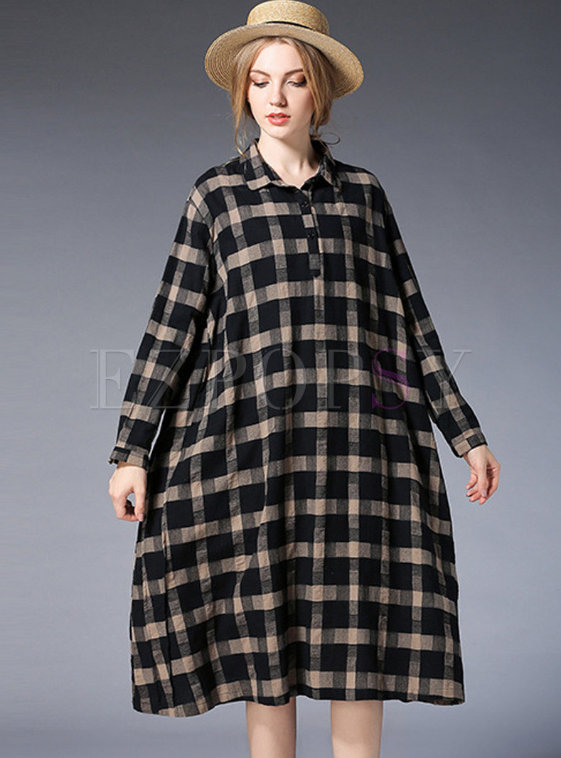 Loose Cotton Contrast Color Shift Dress