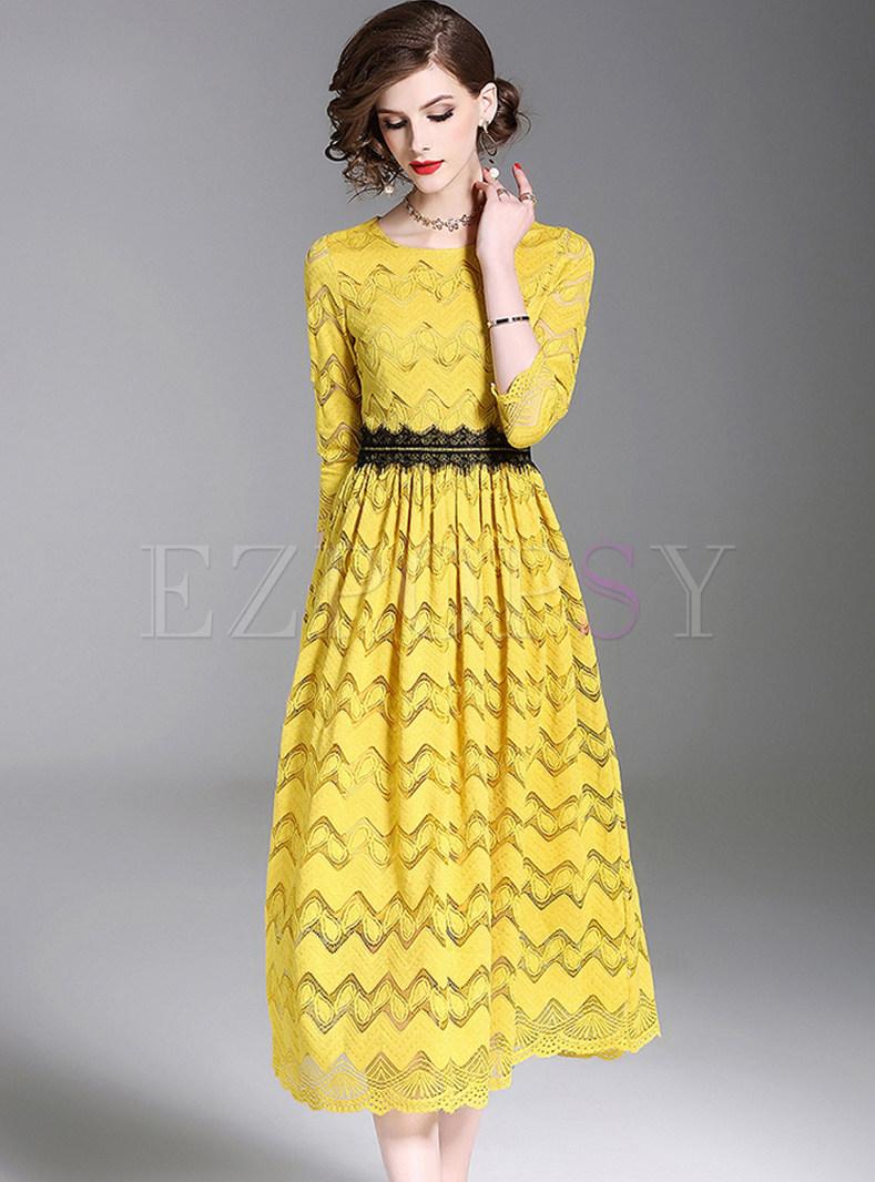 Yellow Lace Gathered Waist Maxi Dress