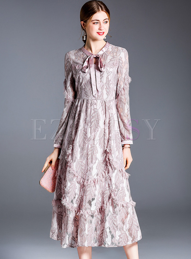 Elegant Feather Splicing Bowknot High Waist Dress
