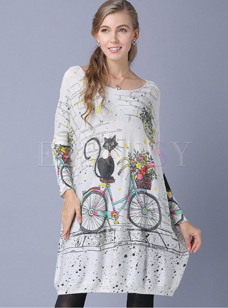 Fashion Slash Neck Cat Print Loose Mini Dress