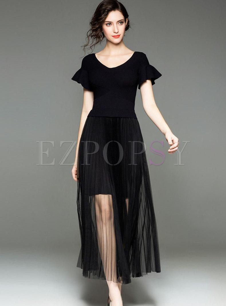 Trendy V-neck Flare Sleeve Gathered Waist Mesh Shirred Dress