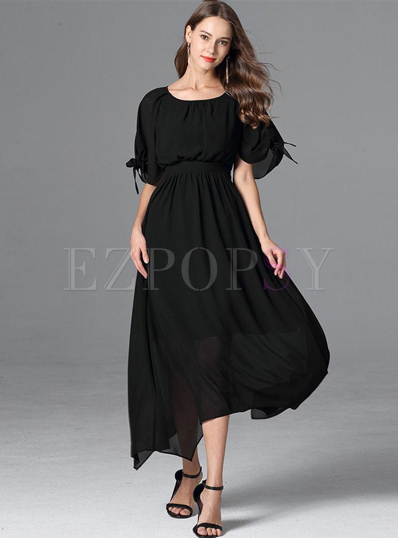 Chiffon Gathered Waist Asymmetric Plus Size Dress