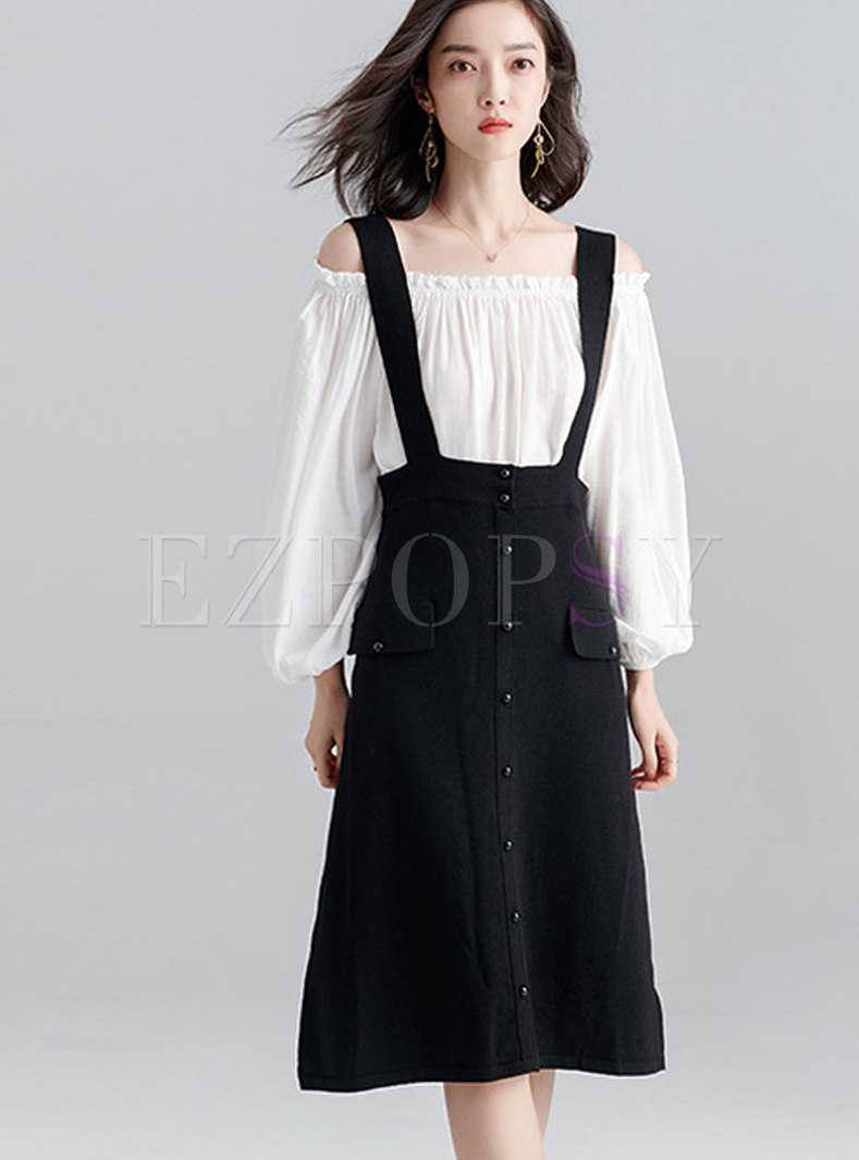 Stylish Single-breasted High Waist Strap Skirt