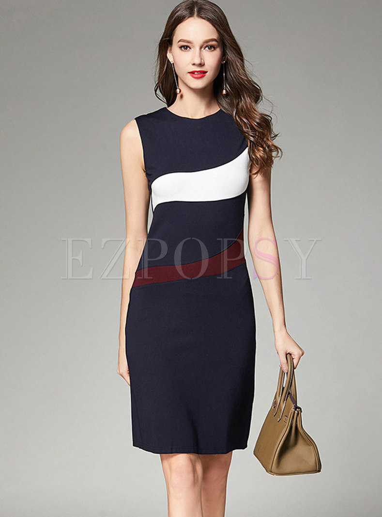 Trendy Color-block Sleeveless Vest Sheath Dress