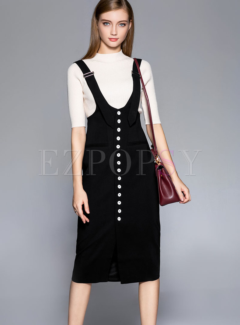 Stylish Black Patchwork Single-breasted Strap Skirt
