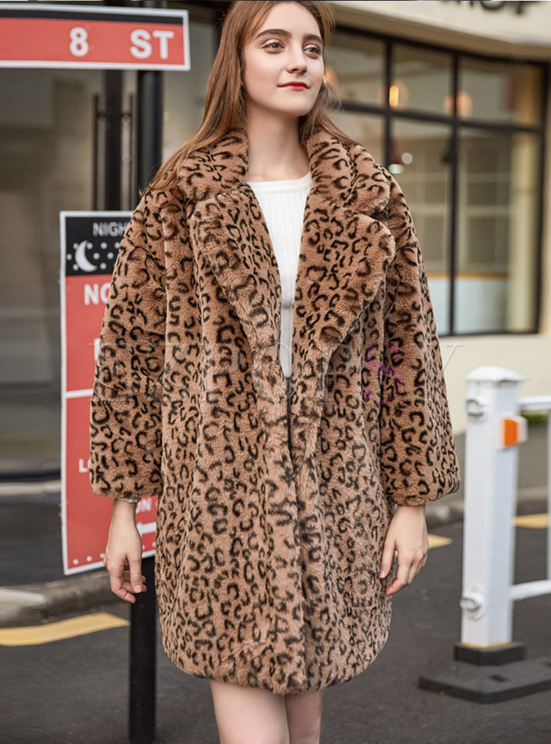 Leopard Notched Long Sleeve Teddy Coat