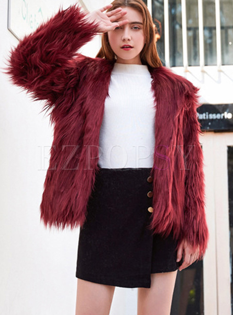 Loose Hooded Long Sleeve Faux Fur Coat