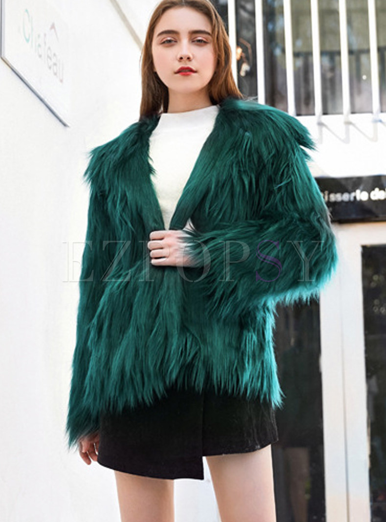 Solid Color Winter Long Sleeve Fur Coat
