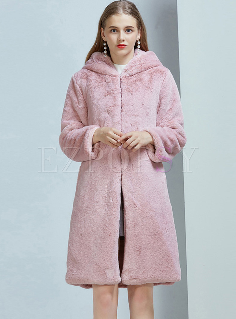 Hooded Long Sleeve Teddy Coat