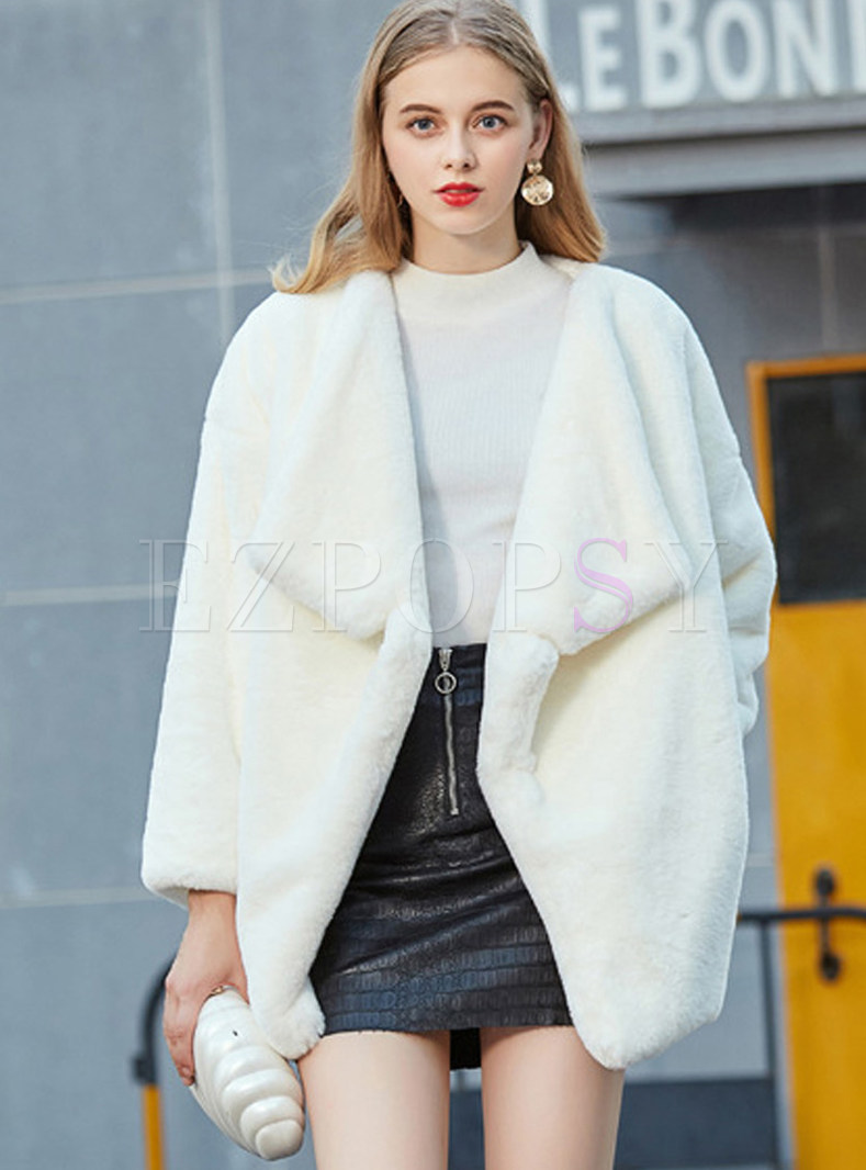 Stylish Turn Down Collar Long Sleeve Fur Overcoat