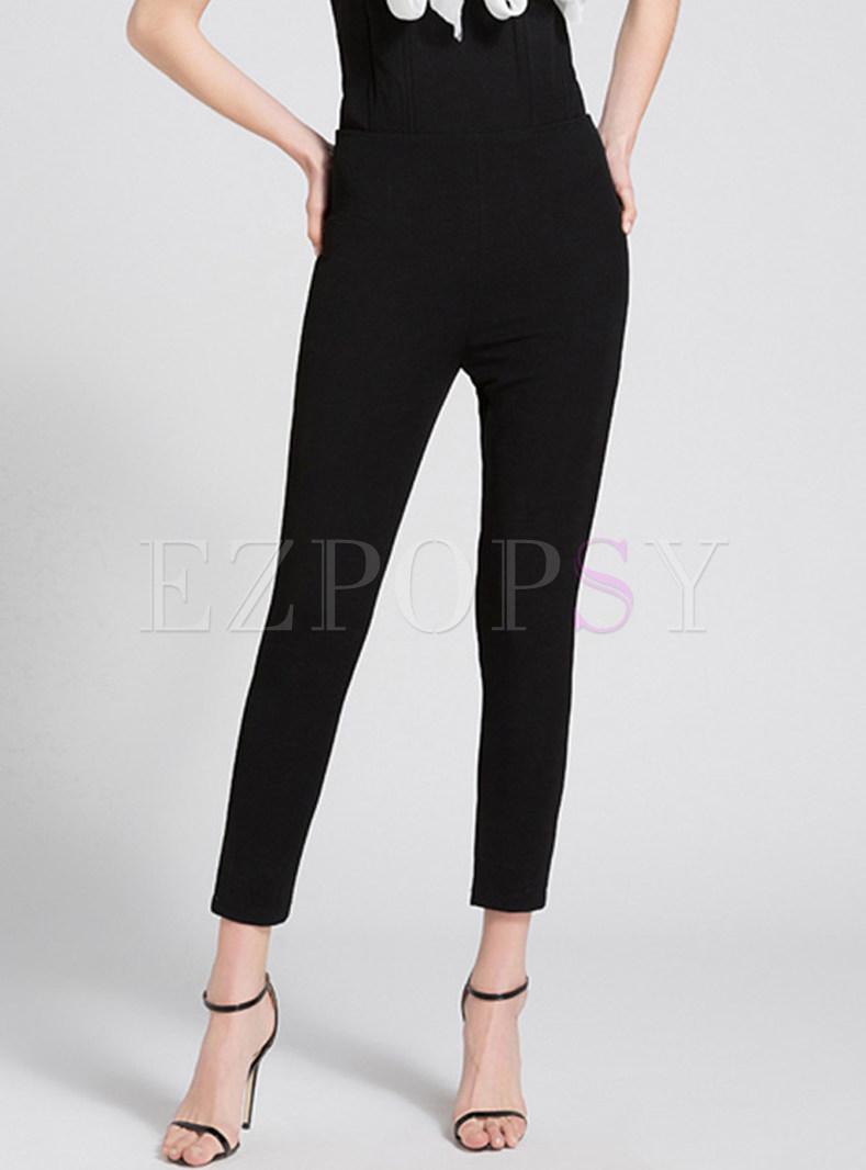 Black High Waist Slim Pants