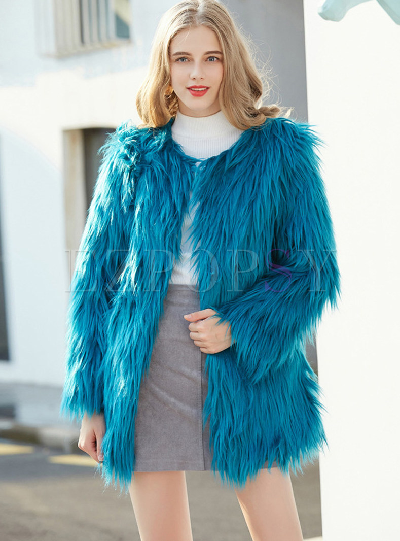 Solid Color O-neck Slim Reqular Fur Coat