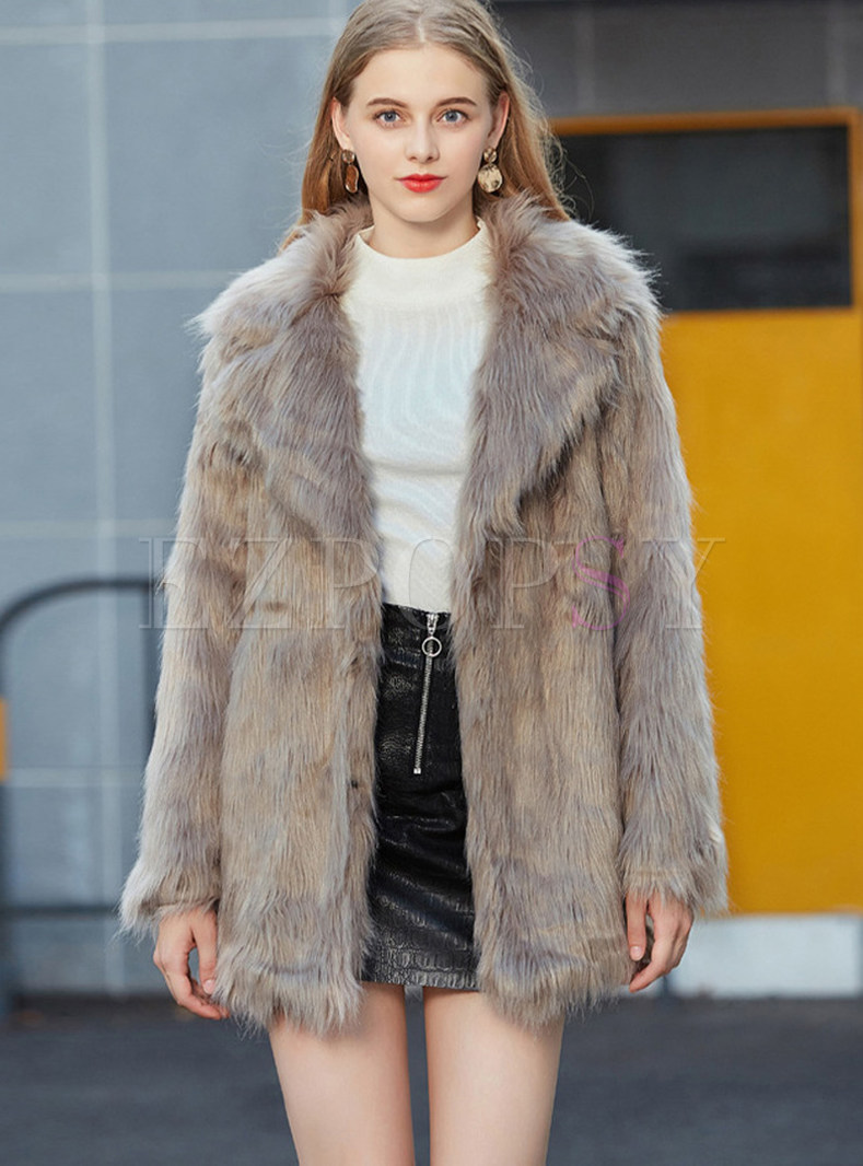 Winter Trendy Notched Faux Fur Coat