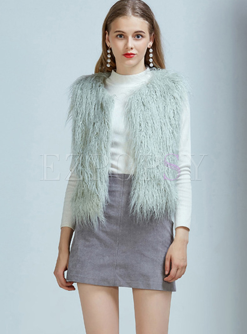 Sweet Sleeveless Slim Short Fur Vest