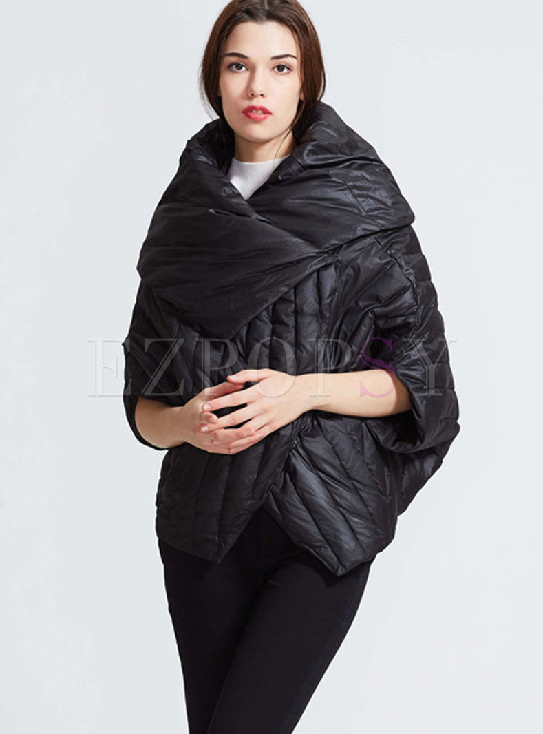 Black Double-sided Bat Sleeved Down Coat