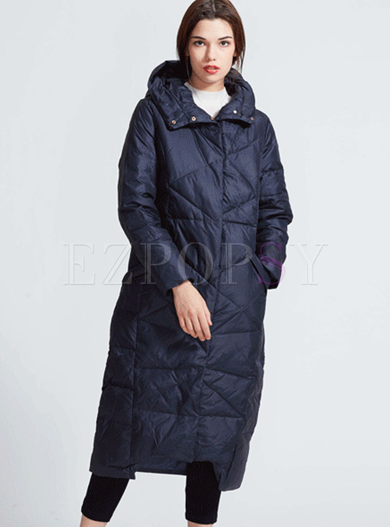 Fashion Monochrome Hooded Long Down Coat