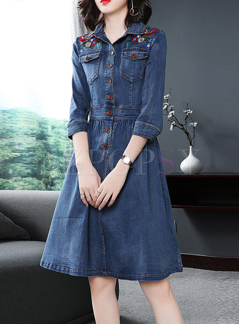 Lapel Single-breasted Embroidered Slim Denim Dress