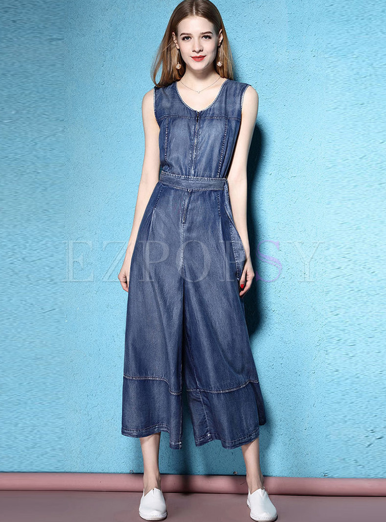 Fashion O-neck Sleeveless Waist Zippered Jumpsuits