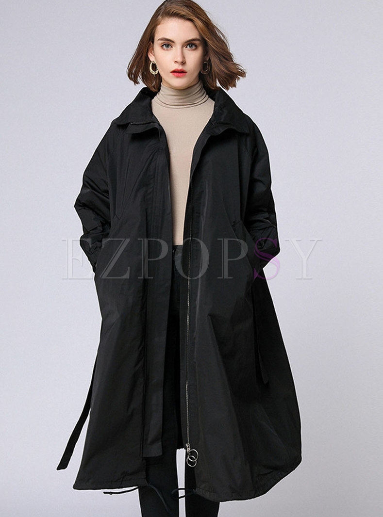 Autumn Plus Size Black Belted Trench Coat