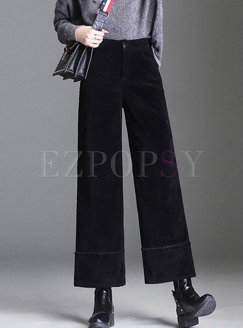 Brief Casual Pocket Pure Color Wide Leg Pants