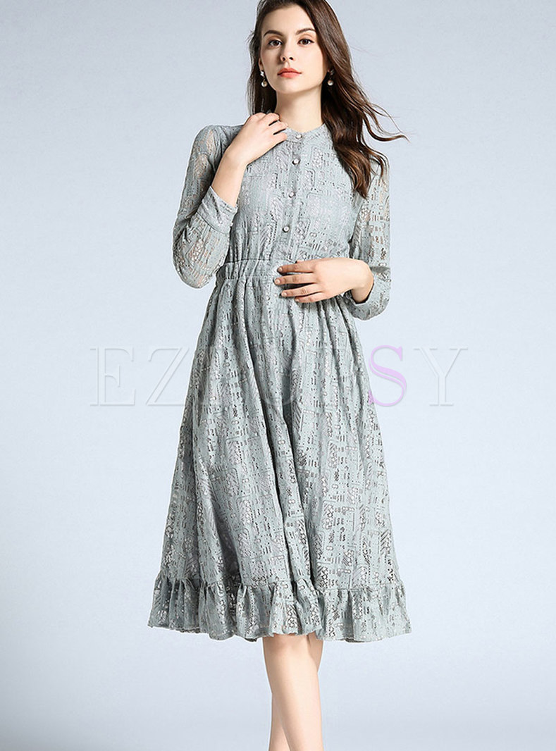 Brief Pure Color Embroidered Ruffled Hem Dress