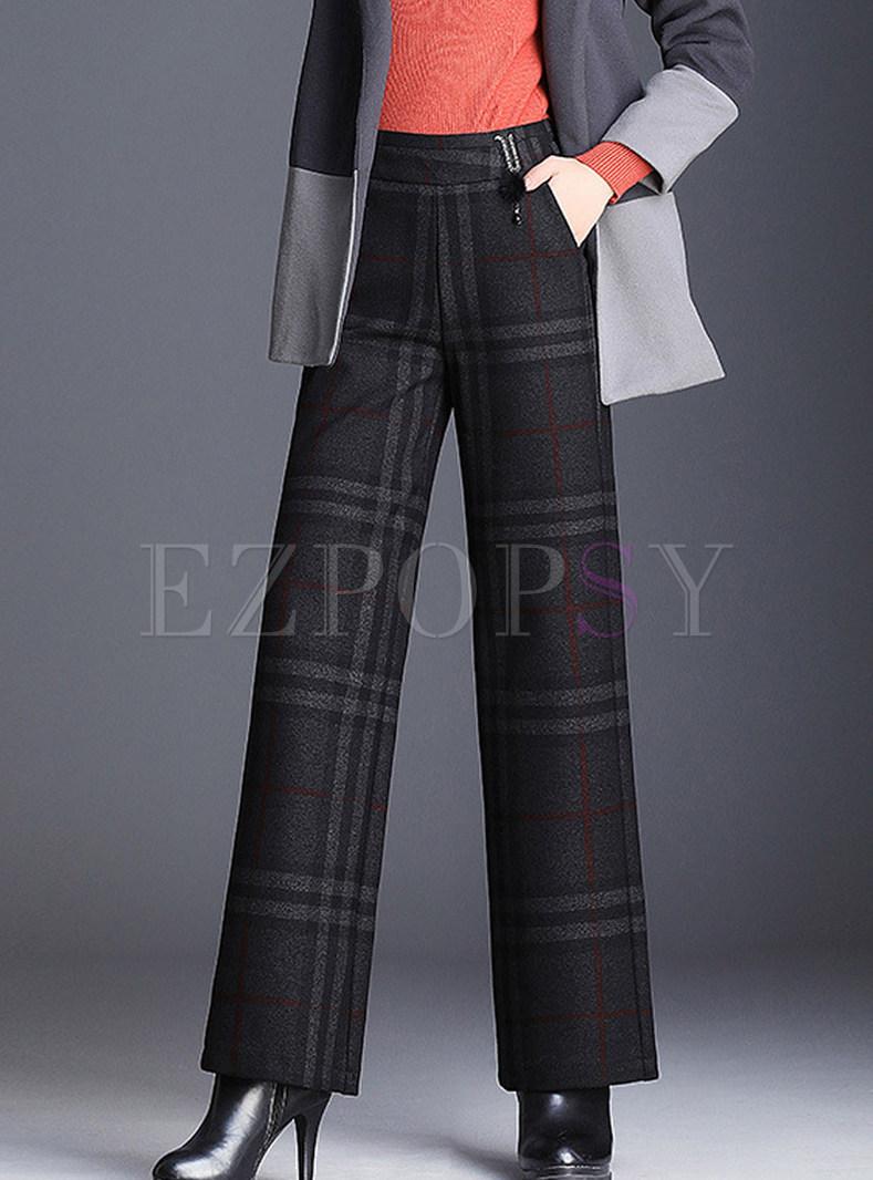Chic Plaid Elastic Waist Woolen Wide Leg Pants