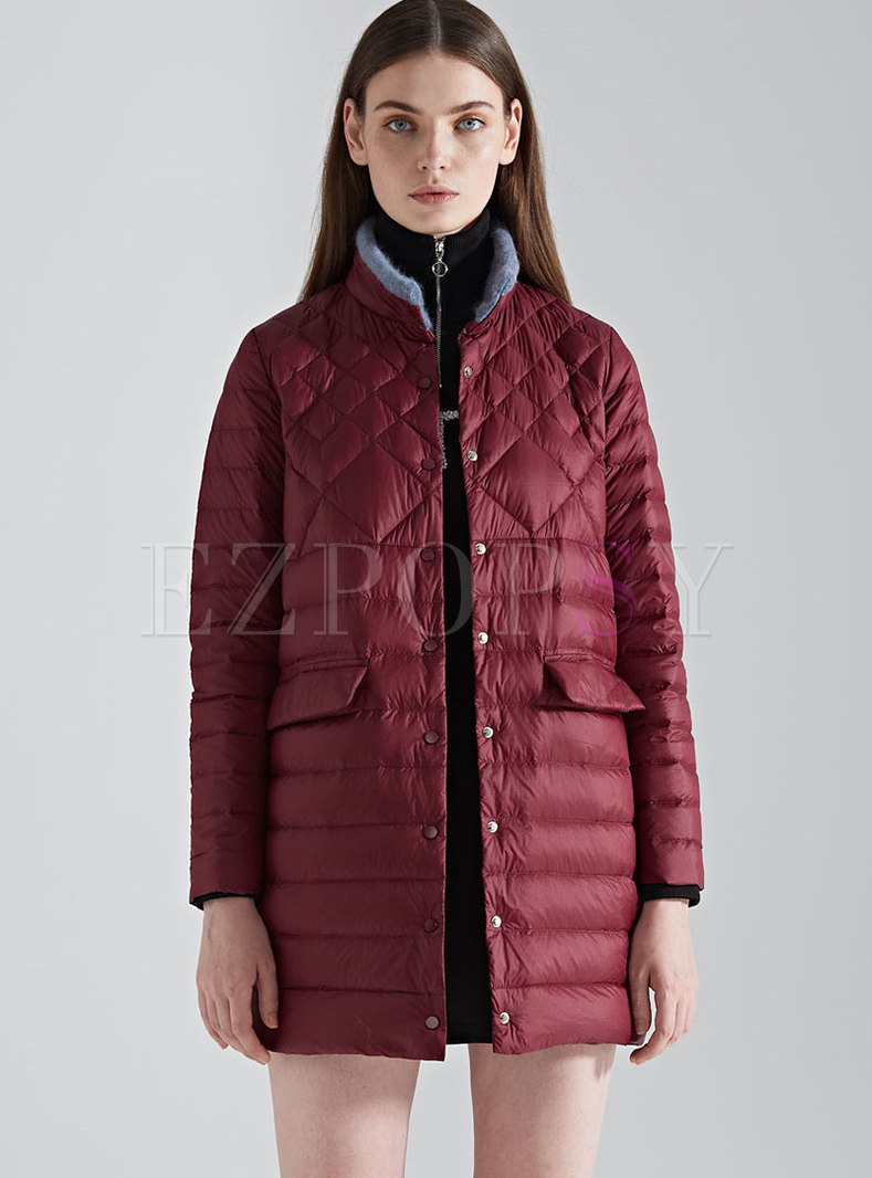 Red Plus Size Straight Puffer Coat