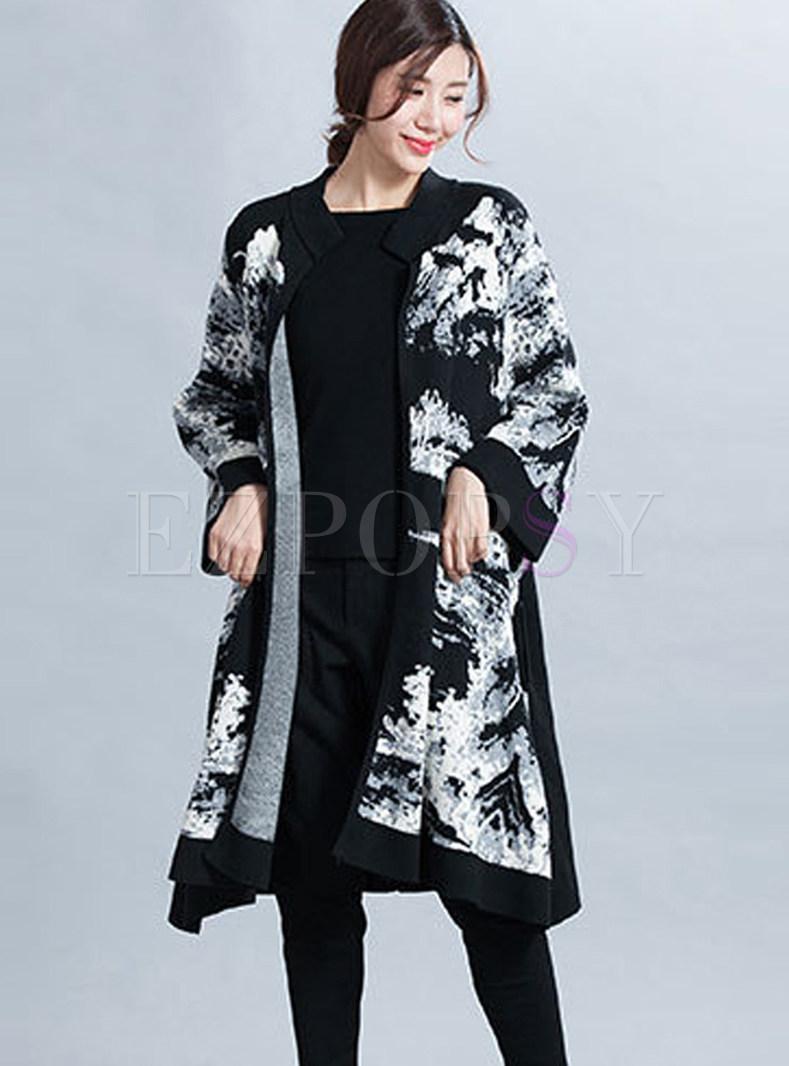Vintage Print Long Cardigan Loose Wool Coat