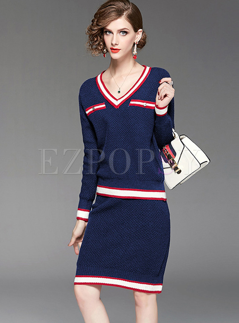 Color-blocked V-neck Knitted Two Piece Outfits