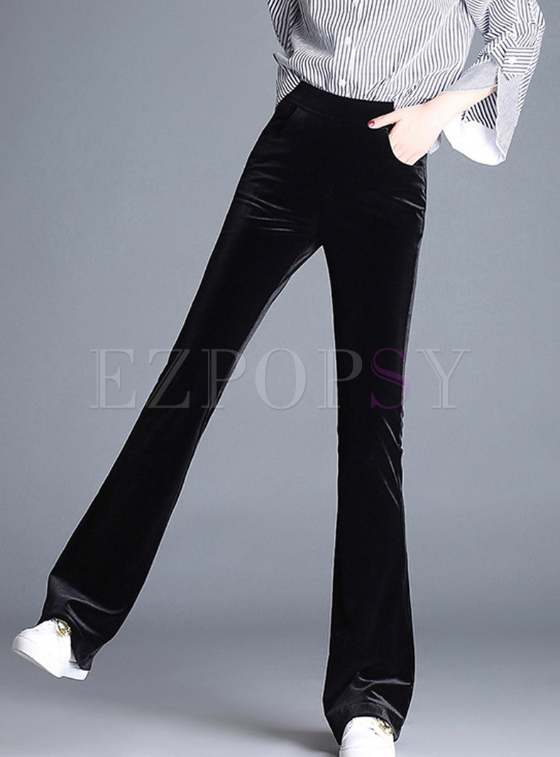 Solid Color Gold Velvet Pocket Long Flare Pants
