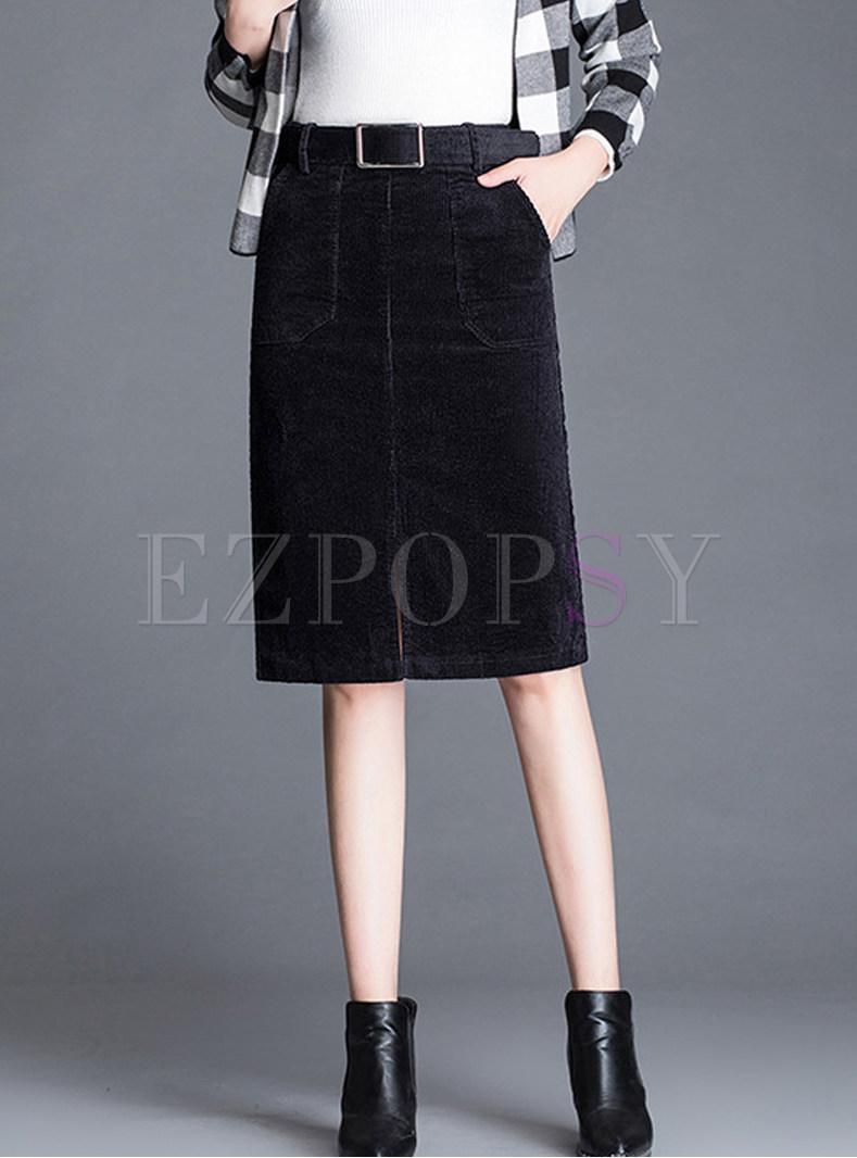 Trendy Belted Big Pocket Slit Knee-length Skirt