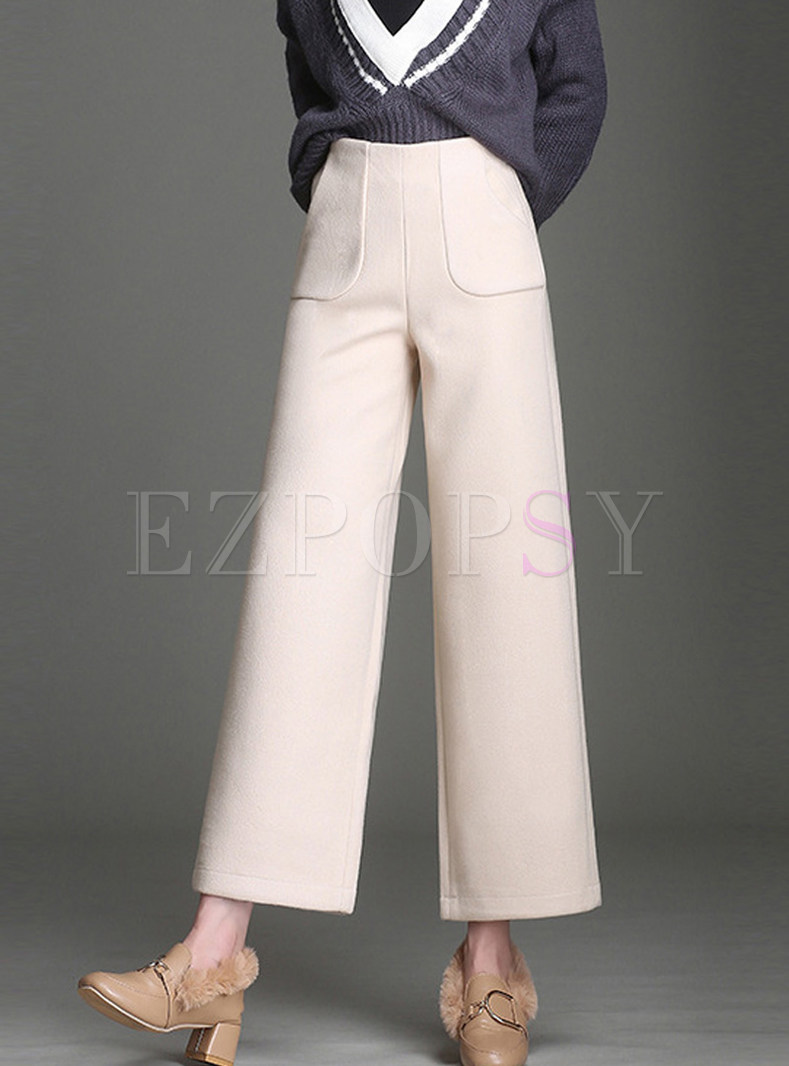 Elastic High Waist Woolen Wide Leg Pants