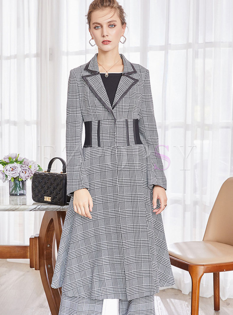 Grey Houndstooth High Waist Trench Coat