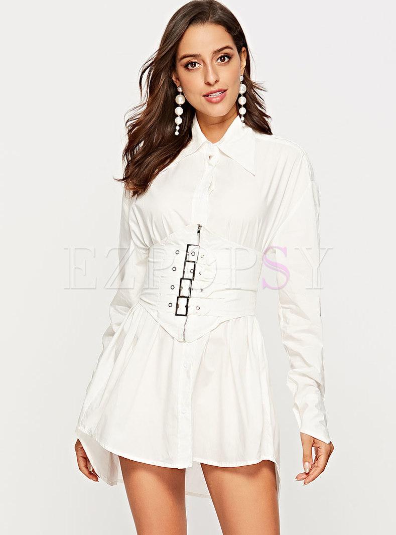 Brief White Long Sleeve High Waist Mini Dress