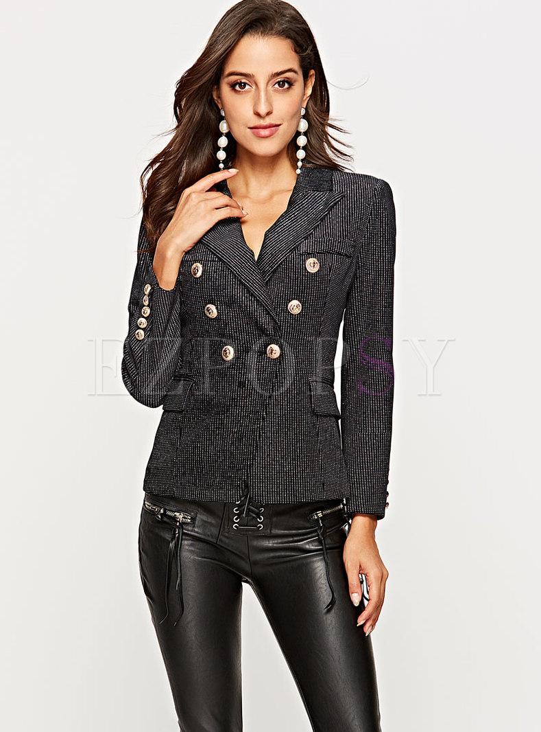Elegant Notched Striped Slim Short Blazer