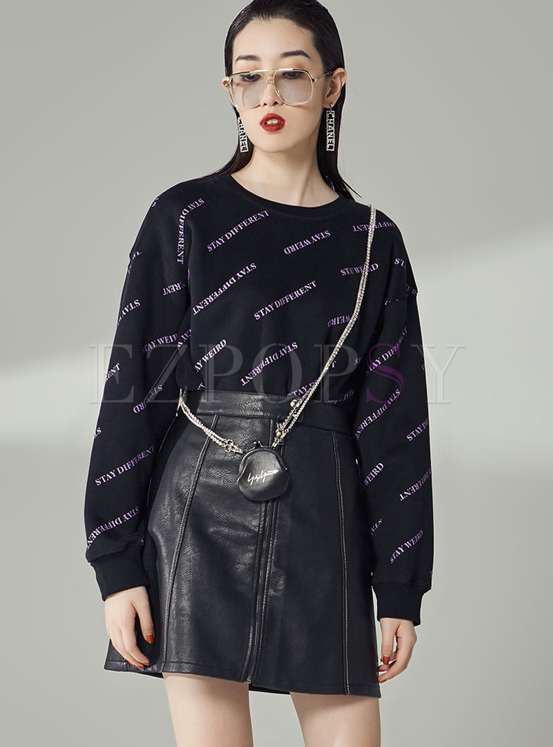 Loose Long Sleeve Letter Reqular Sweatshirt