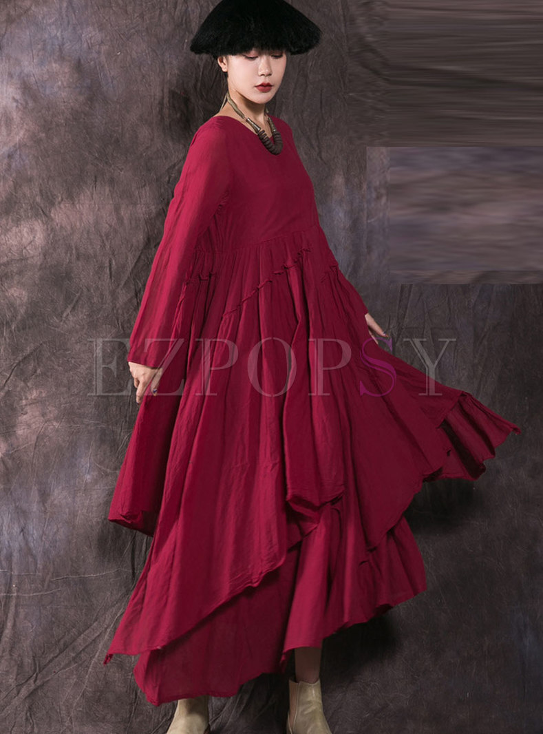 Fashion Wine Red Pleated Cotton Linen Asymmetric Dress