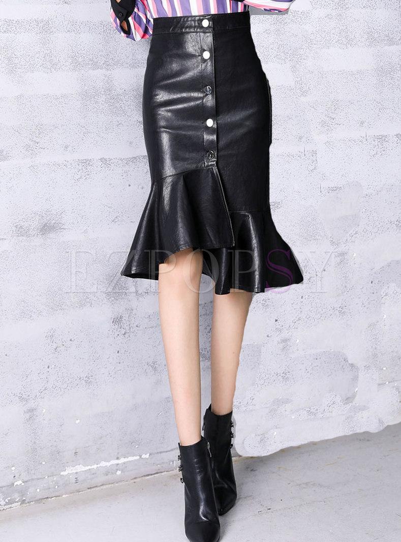 Stylish Black PU Ruffled Hem Asymmetric Skirt