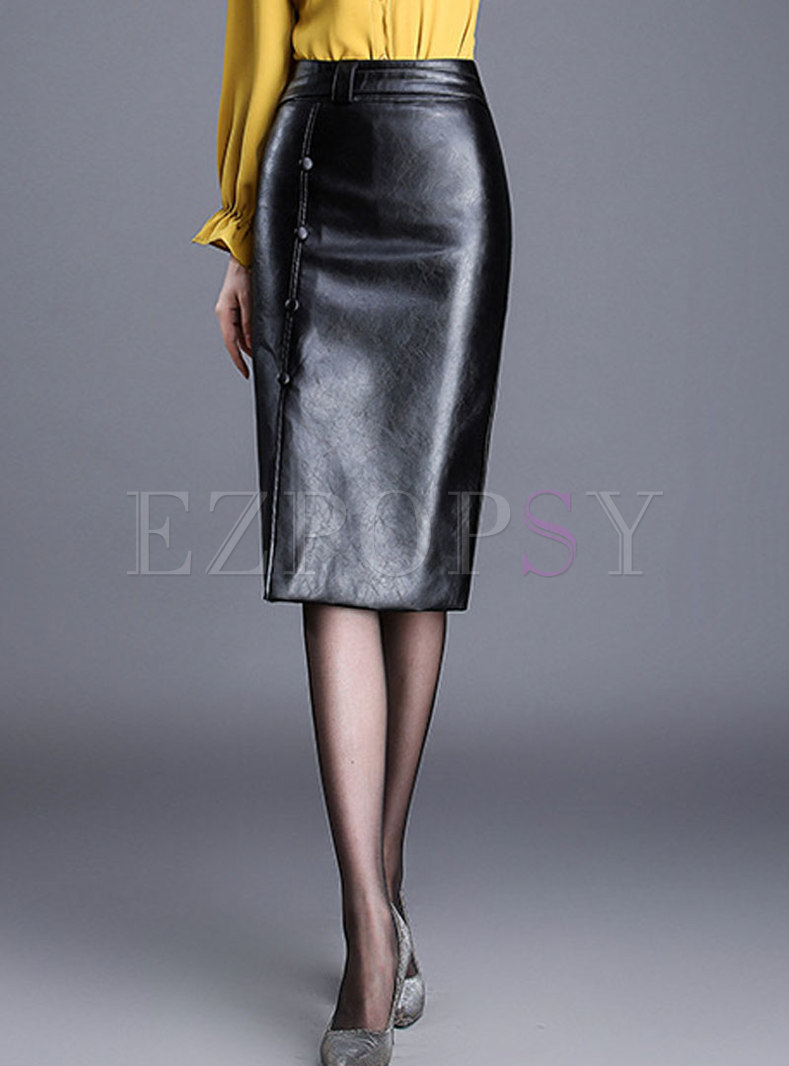 Fashion Elegant Black PU Wrap Sheath Skirt