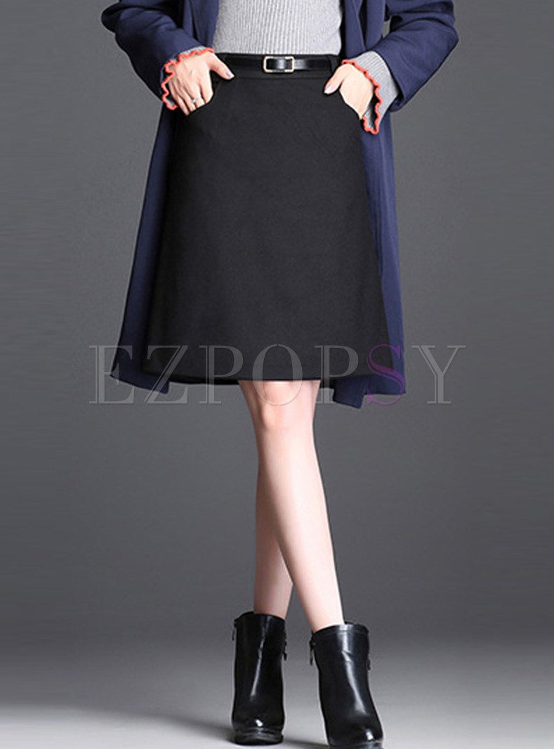 Brief Belted Easy-matching Knee-length A Line Skirt
