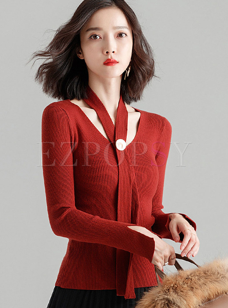 Autumn Red V-neck Pullover Long Sleeve Slim Sweater
