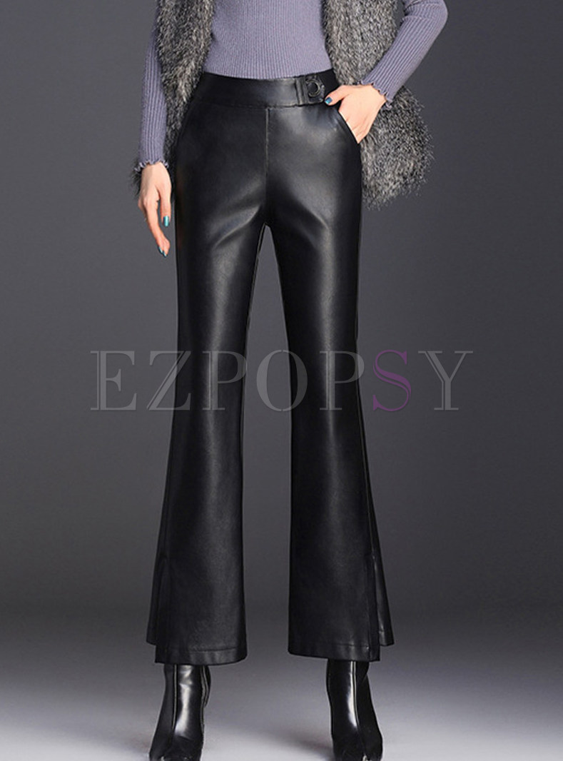 Elastic High Waist Slim Slit Flare Pants