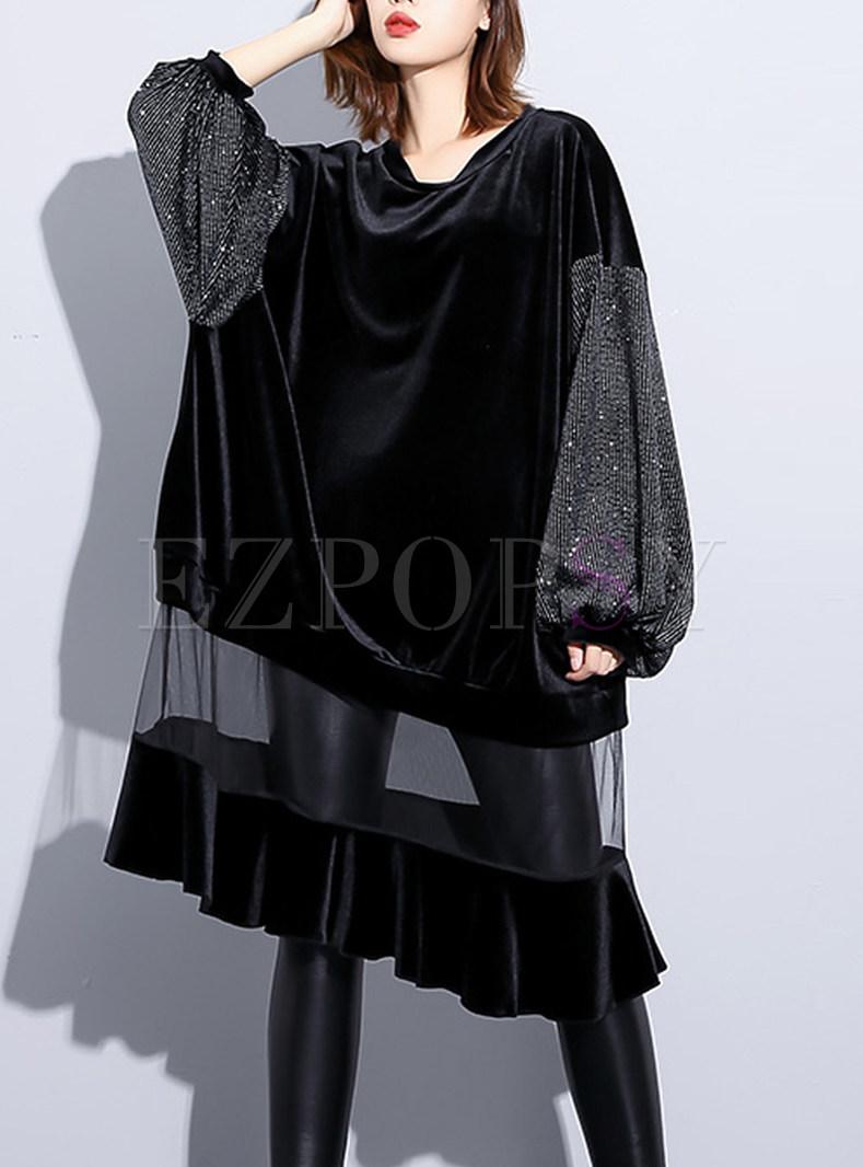 Long Sleeve Mesh Splicing Loose Midi Dress