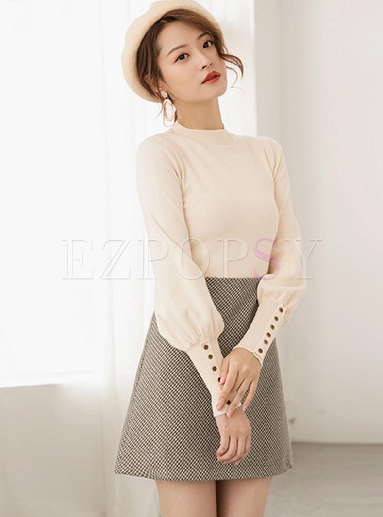 Stylish Half High Neck Lantern Sleeve Sweater
